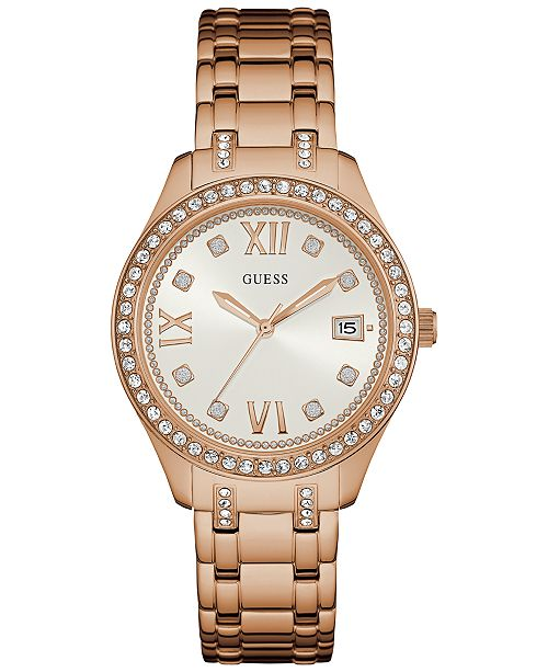 GUESS Women's Waverly Rose Gold-Tone Stainless Steel Bracelet Watch ...