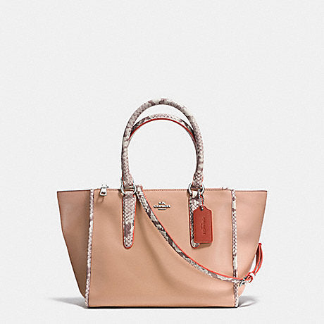 COACH CROSBY CARRYALL IN NATURAL REFINED LEATHER WITH PYTHON EMBOSSED LEATHER TRIM