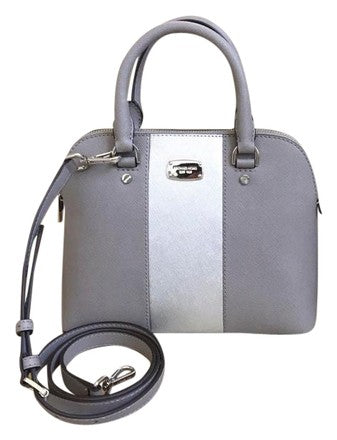 Michael Kors Cindy Dome Satchel Adj Strap Metallic Center Stripe Pearl Gray Leather Cross Body Bag