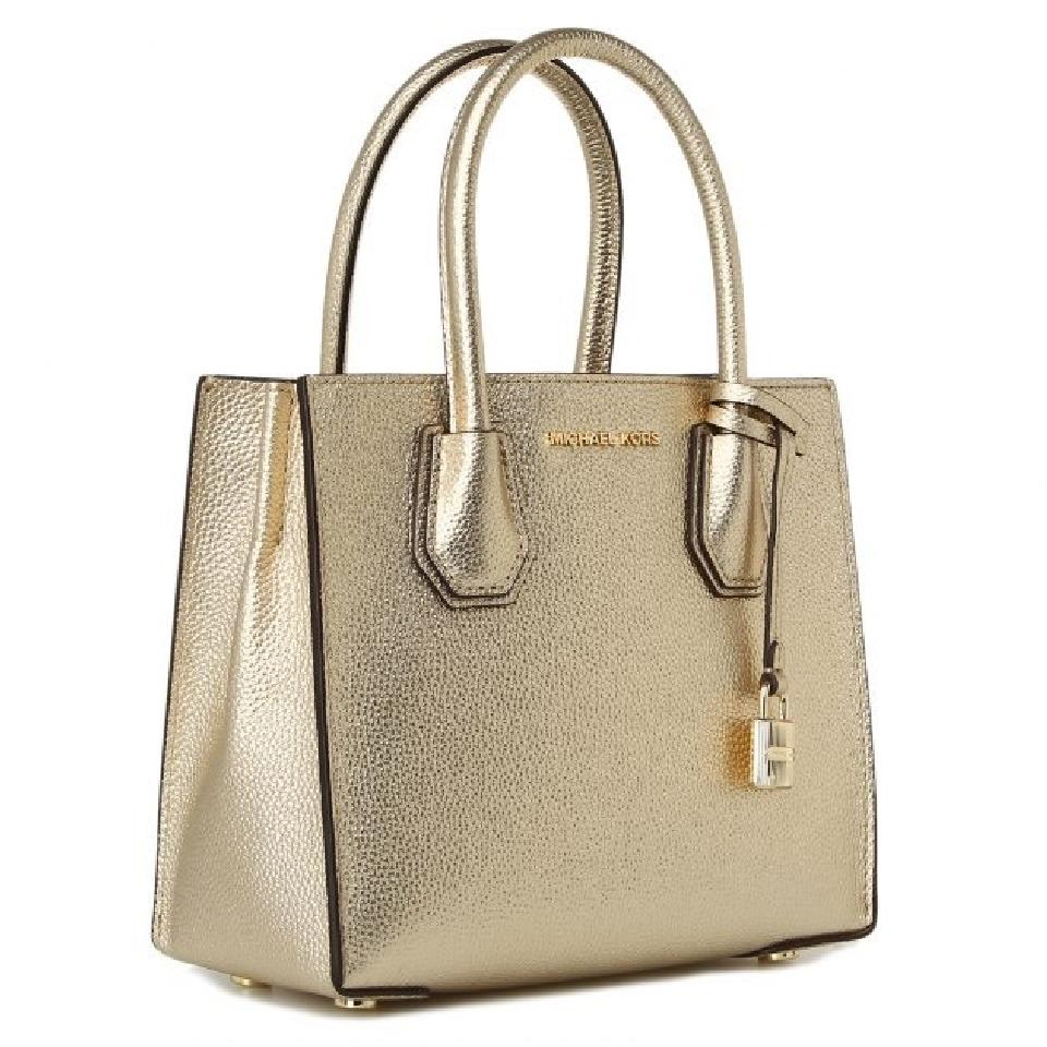 outlet on sale preview of ever popular Michael Kors Mercer Metallic Lthr Gold Pebbled Leather Cross Body Bag