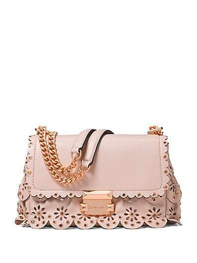 Michael Kors Sloan Small Floral Scalloped Leather Shoulder Bag SOFTPINK