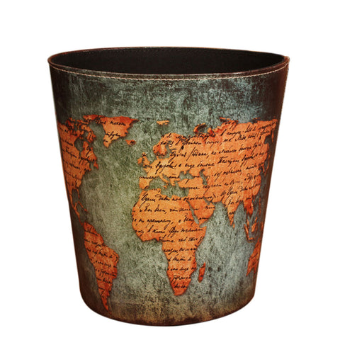 European Style Leather Wastebasket