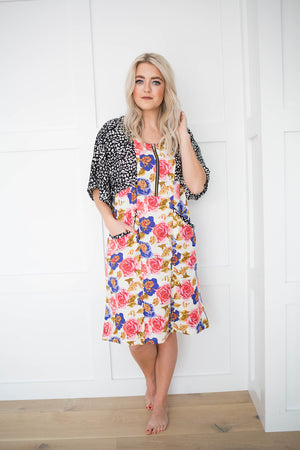 Zipper White Floral House Dress