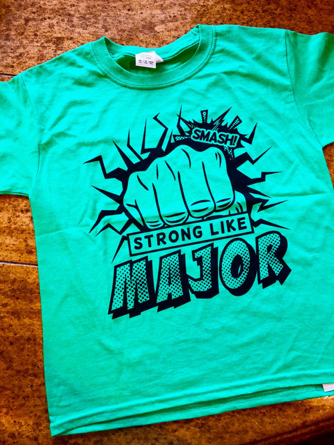 Strong Like Major t-shirt supporting CHD (congenital heart defects)