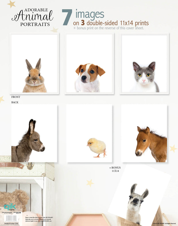Adorable Animal Portraits - 3pc Double-Sided Art Print Set