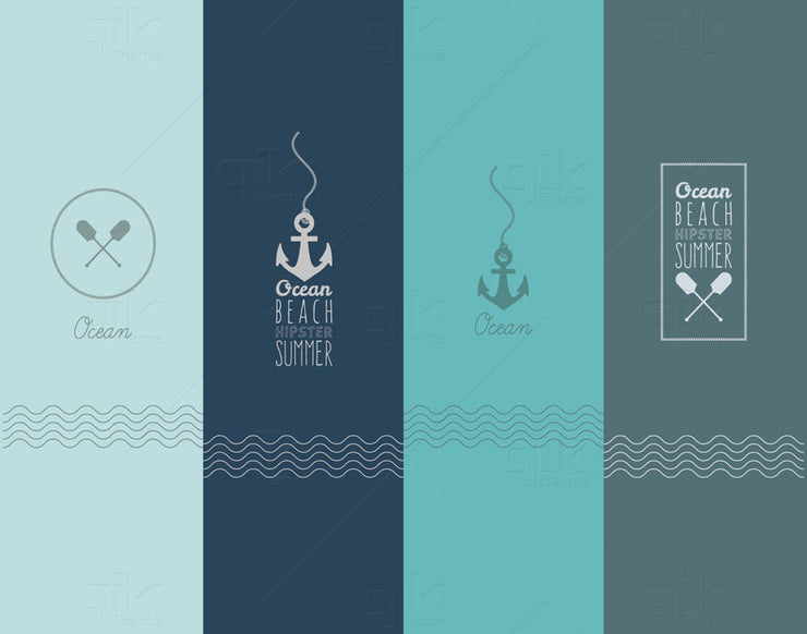 Anchors Away - 5pc Double-Sided Art Print Set