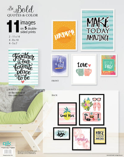 Be Bold Quotes & Color - 5pc Double-Sided Art Print Set