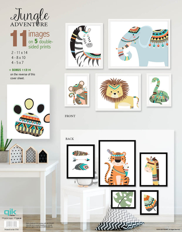 Jungle Adventure - 5pc Double-Sided Art Print Set