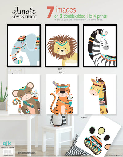 Jungle Adventures - 3pc Double-Sided Art Print Set