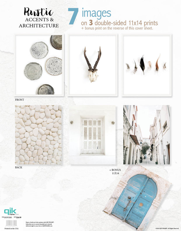 Rustic Accents & Architecture - 3pc Double-Sided Art Print Set