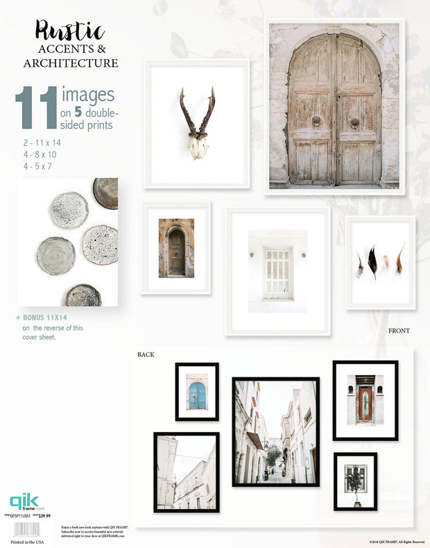 Rustic Accents & Architecture - 5pc Double-Sided Art Print Set