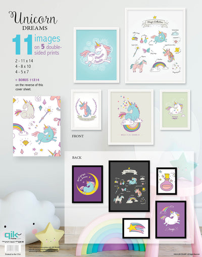 Unicorn Dreams - 5pc Double-Sided Art Print Set