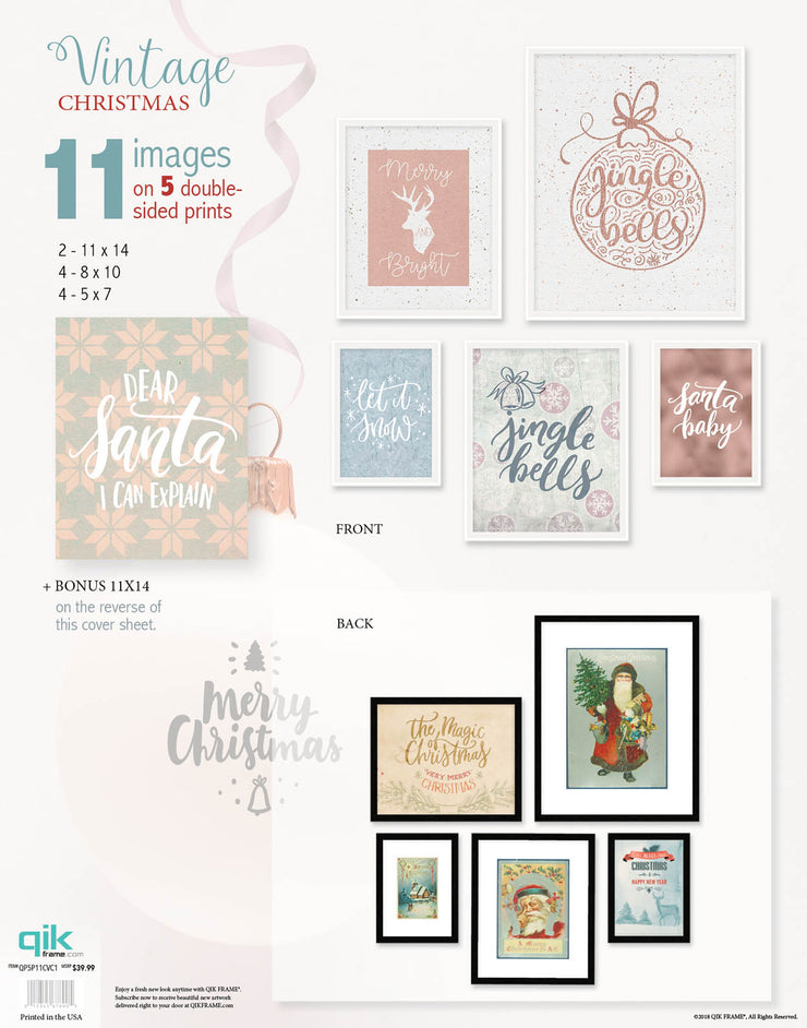 Vintage Christmas - 5pc Double-Sided Art Print Set