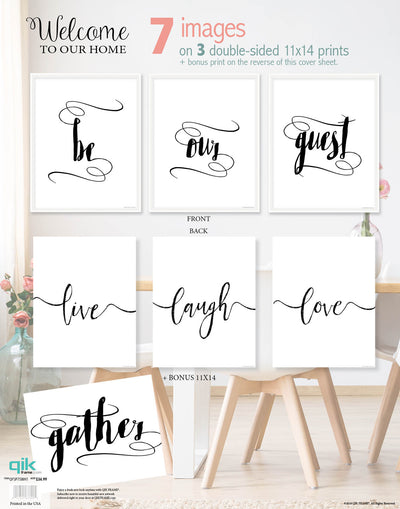 Welcome to Our Home - 3pc Double-Sided Art Print Set