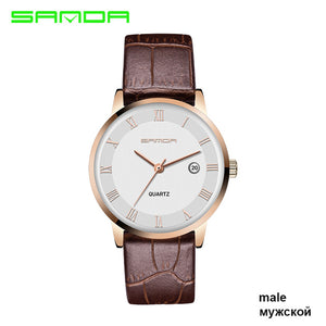 Sanda Super Slim Mens Watch, Genuine Leather, Calendar