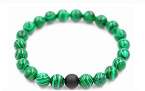 Malachite Distance Bracelet, Green Charms, Elastic Band