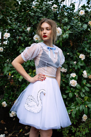 I found Lucy. tulle and cotton circle skirt swan embellished image