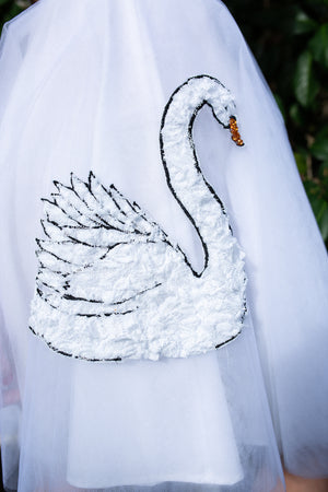 I found Lucy. tulle and cotton circle skirt swan embellished close up image