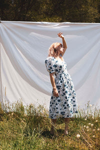 I found Lucy summer Frida Prairie Cotton dress with blue cornflower print