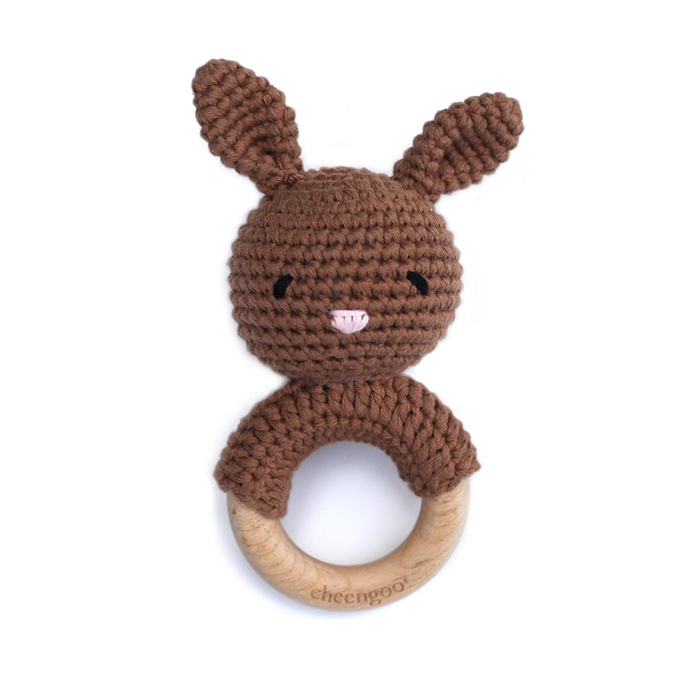 BUNNY TEETHING RATTLE, MOCHA
