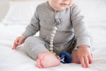 PACIFIER CLIP, WOODEN COLOR BLOCK COOL GRAY