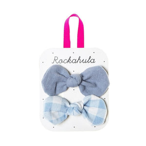Gingham Bow Clips Blue