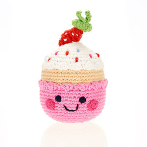 FRIENDLY CUPCAKE RATTLE, Strawberry