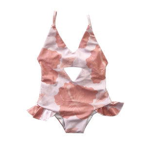 HIBISCUS CORAL PEEK-A-BOO SWIMSUIT