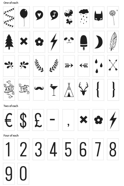 NUMBERS AND SYMBOLS LETTER SET