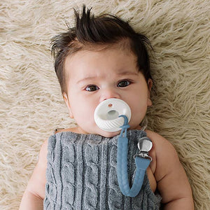 BLUE + SILVER SWEETIE STRAP PACIFIER CLIP
