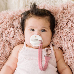 PINK + ROSE GOLD SWEETIE STRAP PACIFIER CLIP