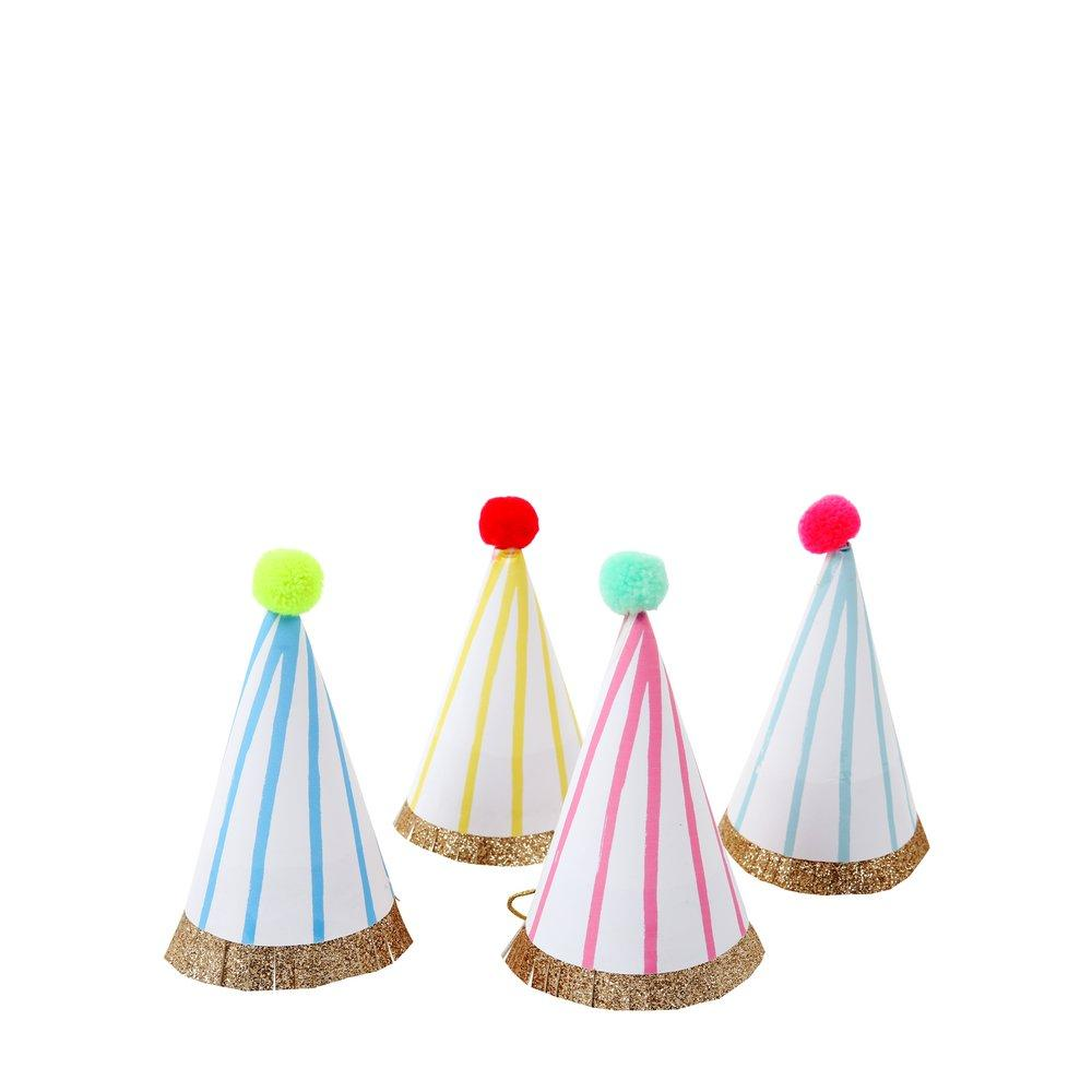 STRIPE POM POM MINI PARTY HATS