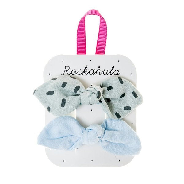 Sprinkle Bow Clips Blue