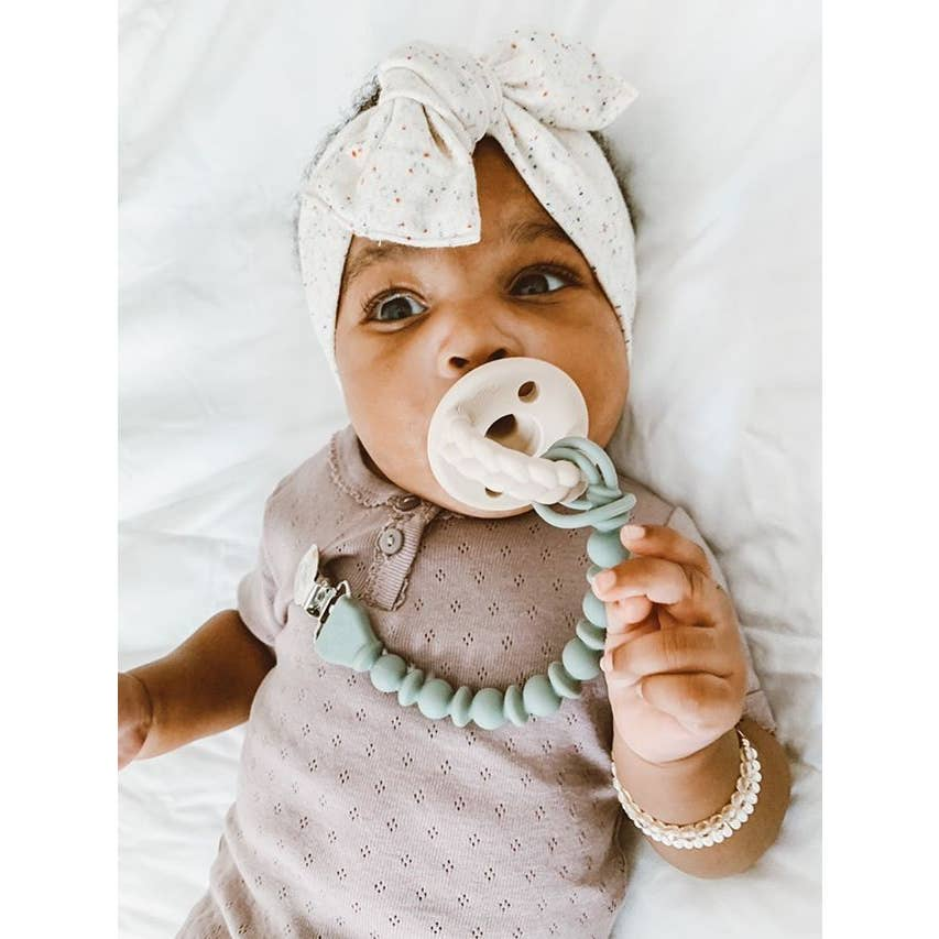 ROSE + ROSEGOLD SWEETIE STRAP BEADED PACIFIER CLIP