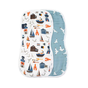 Nautical & Sea Gulls Oh-So-Soft Muslin Burp Cloths (2 pack)