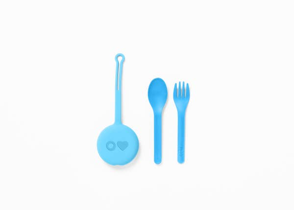 FORK, SPOON, AND POD SET, CAPRI BLUE