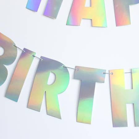 HOLOGRAPHIC FOIL HAPPY BIRTHDAY BANNER