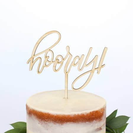 HOORAY! WOOD CAKE TOPPER