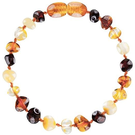 Amber Teething Bracelet/Anklet, Multicolor Raw