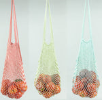 STRING MARKET BAGS, Long Handle, Two-Tone Colors