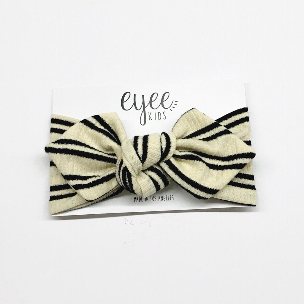 Ribbed Ivory Black Stripe Top Knot