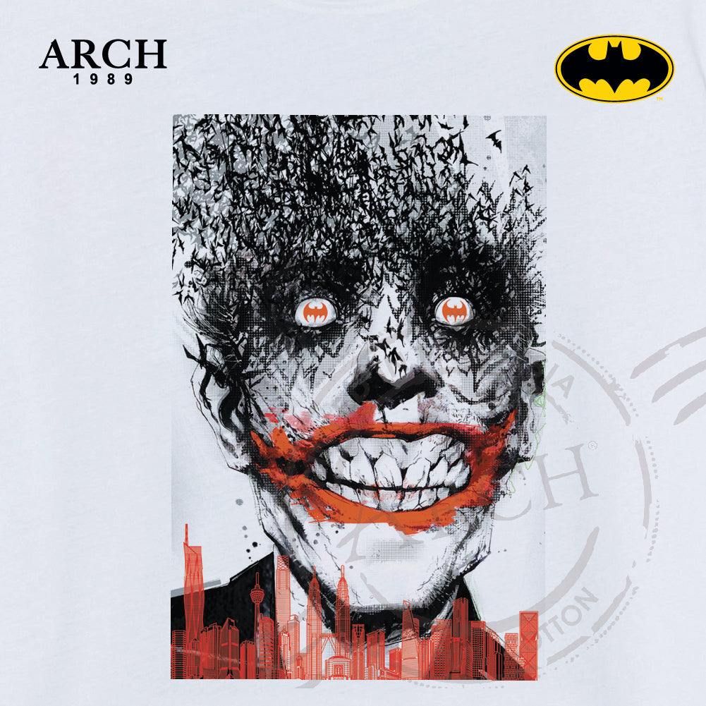 Original DC Comics Joker Bat Eyes KL Scene Unisex White T Shirt by ARCH