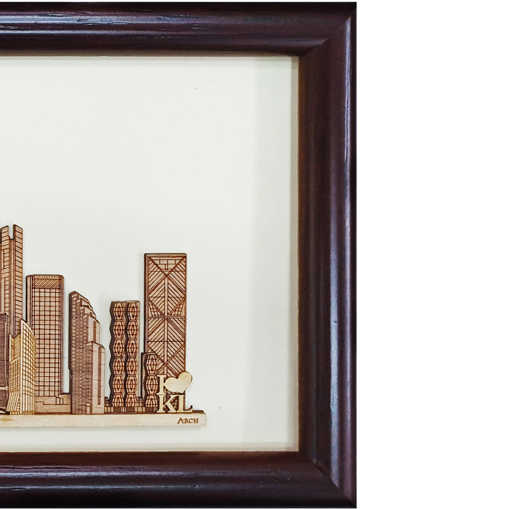 Kuala Lumpur Skyscrapers design art piece home office decoration wood veneer wedding business corporate gift premium luxury hand-made present