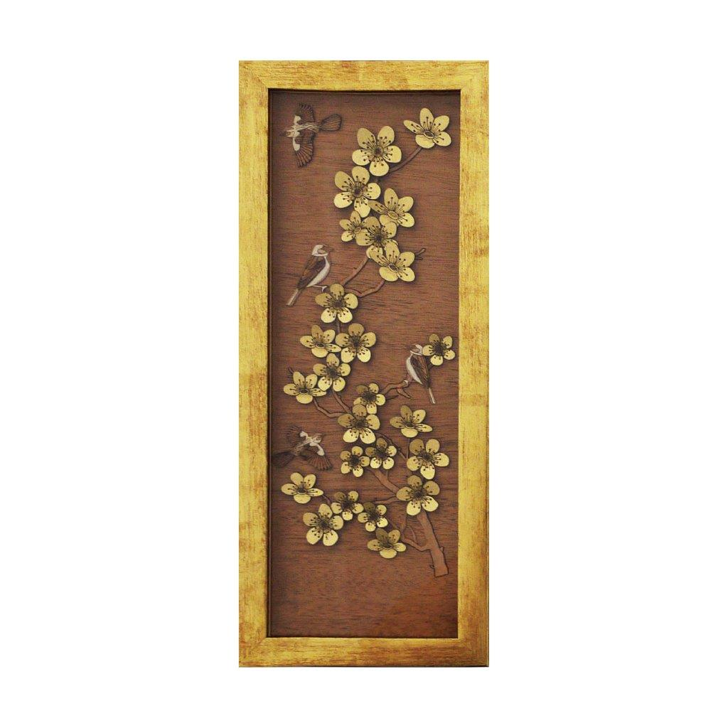 Cherry Blossom Gold chinese design art piece home office decoration wood veneer wedding business corporate gift