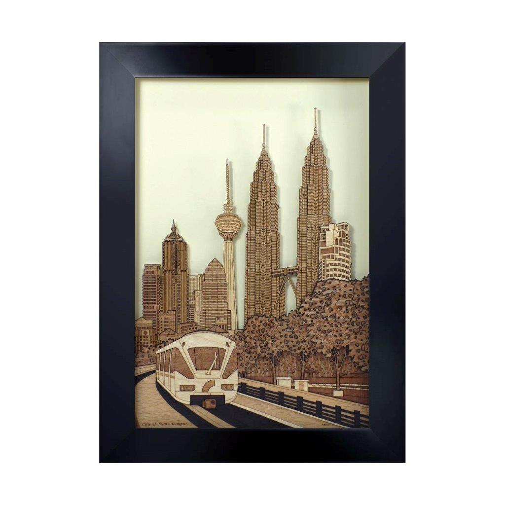 City of kuala lumpur art piece home office decoration wood veneer wedding business corporate gift