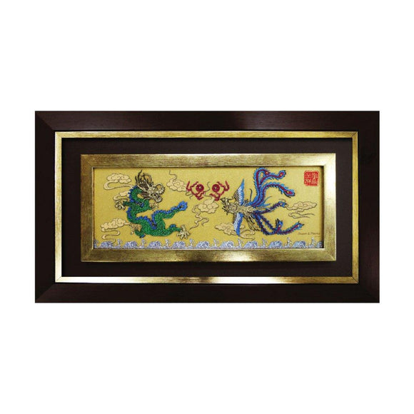 Dragon & Phoenix chinese oriental flower design art piece home office decoration wood veneer wedding business corporate gift