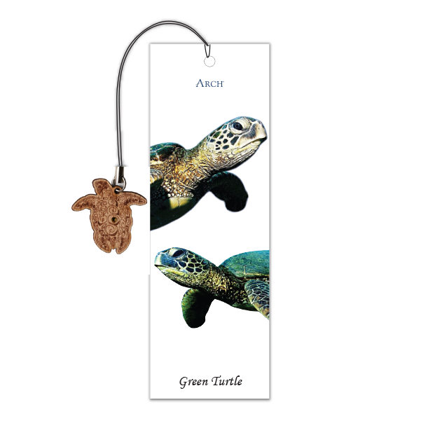 Wood Veneer Bookmarks  - Green Turtle - Charm