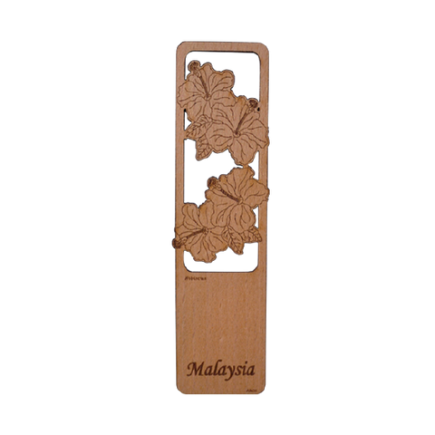 Wood Veneer Bookmarks  - Hibiscus