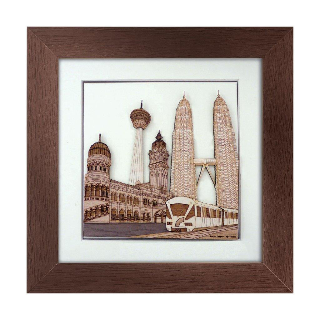Kuala Lumpur City Centre design art piece home office decoration wood veneer wedding business corporate gift premium luxury hand-made present
