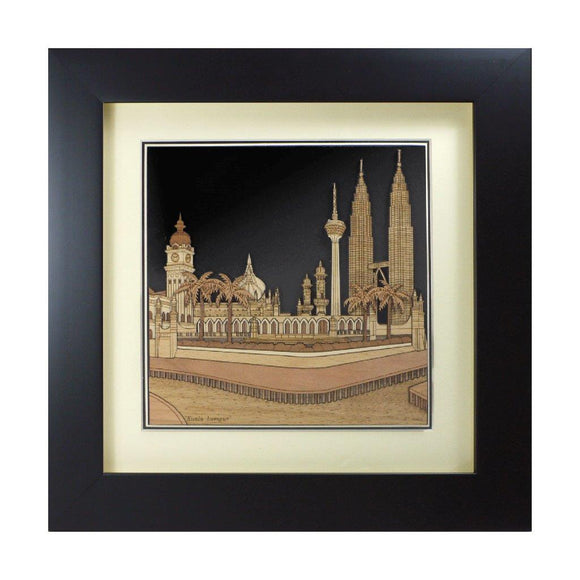 Kuala lumpur City Malaysia design art piece home office decoration wood veneer wedding business corporate gift premium luxury hand-made present